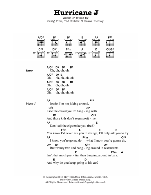 The Hold Steady Hurricane J sheet music notes and chords. Download Printable PDF.