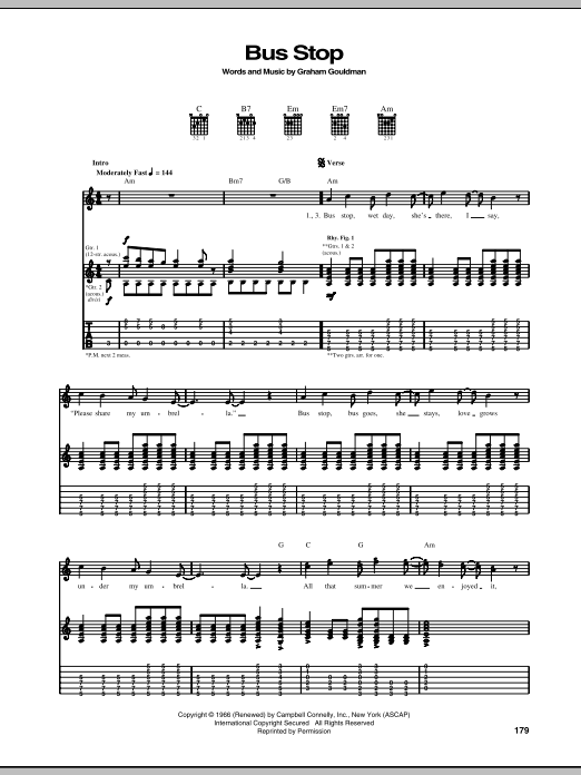 The Hollies Bus Stop sheet music notes and chords. Download Printable PDF.