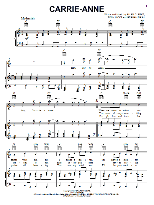 The Hollies Carrie-Anne sheet music notes and chords. Download Printable PDF.