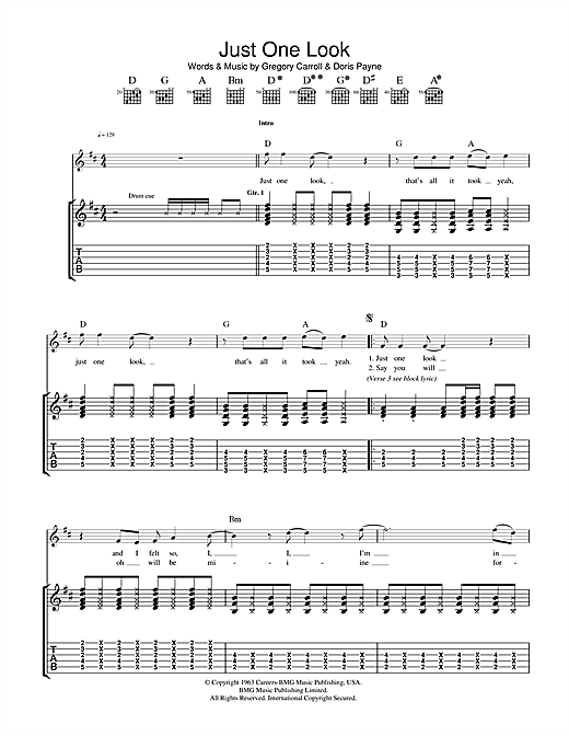 The Hollies Just One Look sheet music notes and chords. Download Printable PDF.