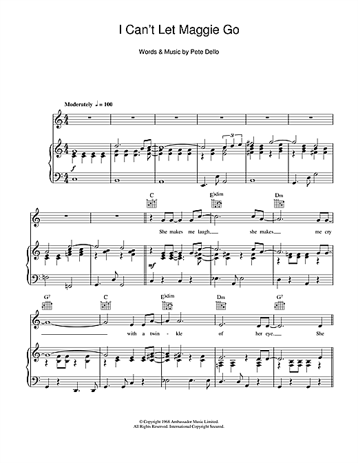 The Honeybus I Can't Let Maggie Go sheet music notes and chords. Download Printable PDF.