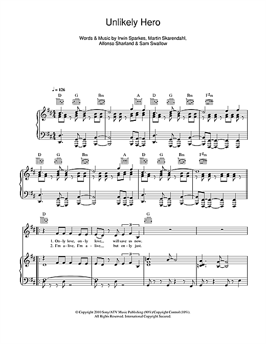 The Hoosiers Unlikely Hero sheet music notes and chords. Download Printable PDF.