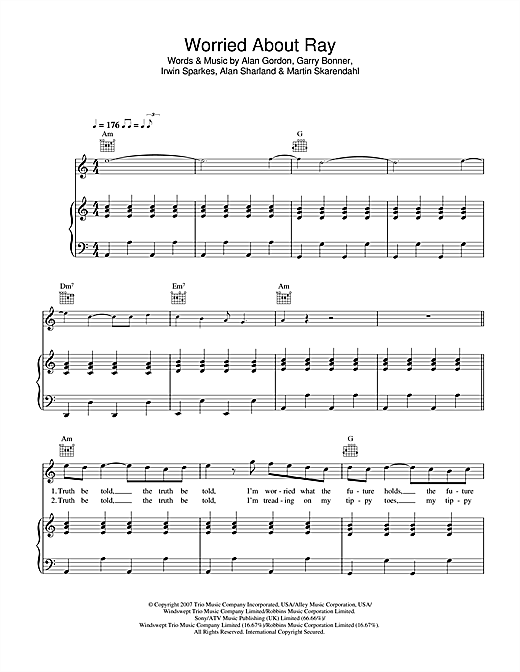The Hoosiers Worried About Ray sheet music notes and chords. Download Printable PDF.