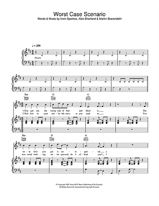 The Hoosiers Worst Case Scenario sheet music notes and chords. Download Printable PDF.