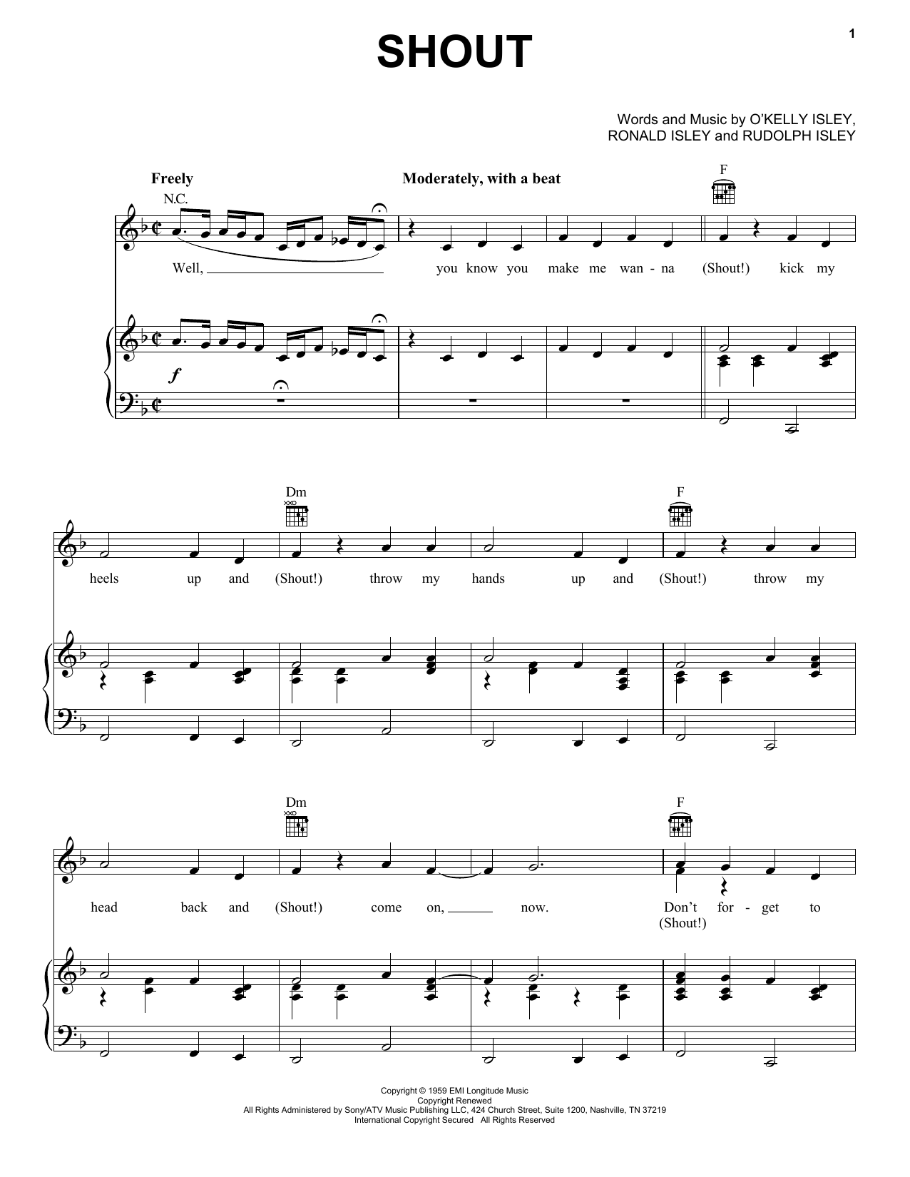 The Isley Brothers Shout sheet music notes and chords
