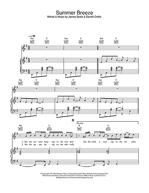 The Isley Brothers Summer Breeze sheet music notes and chords. Download Printable PDF.