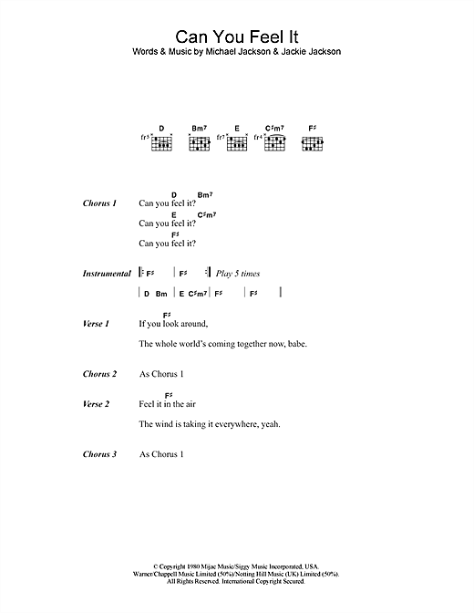 The Jackson 5 Can You Feel It sheet music notes and chords. Download Printable PDF.