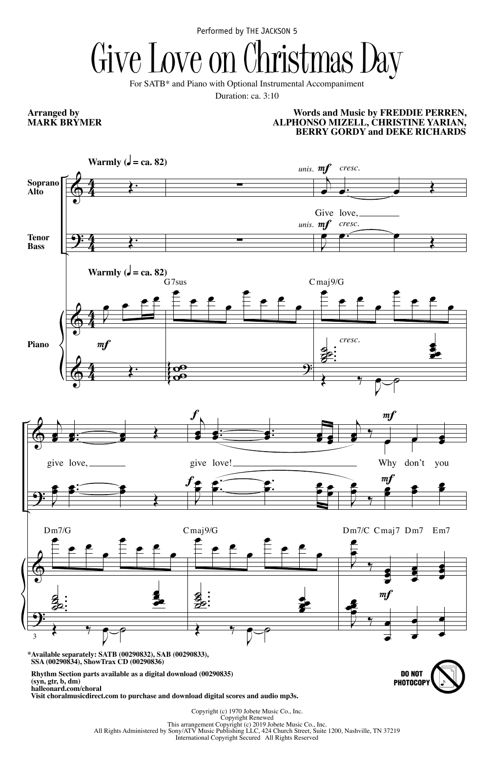 The Jackson 5 Give Love On Christmas Day (arr. Mark Brymer) sheet music notes and chords