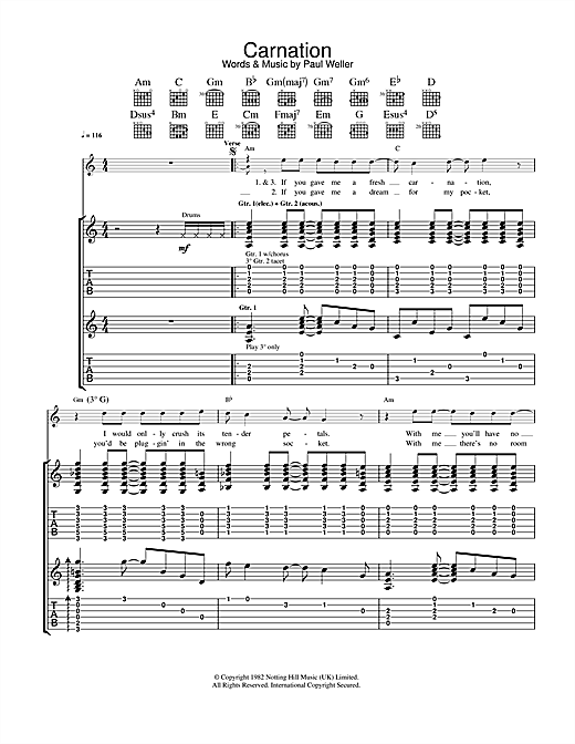 The Jam Carnation sheet music notes and chords. Download Printable PDF.