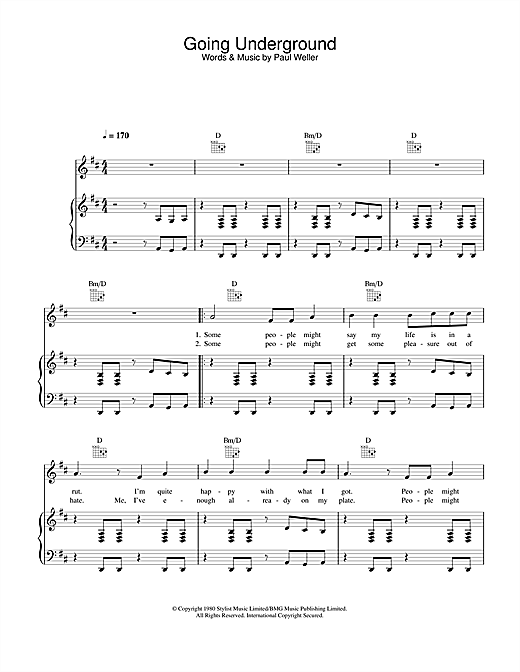 The Jam Going Underground sheet music notes and chords. Download Printable PDF.