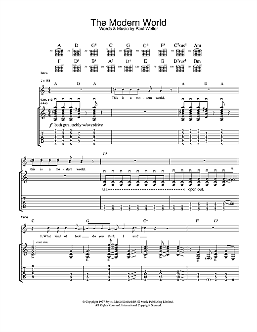 The Jam The Modern World sheet music notes and chords. Download Printable PDF.