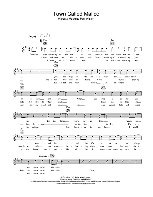 The Jam Town Called Malice sheet music notes and chords. Download Printable PDF.