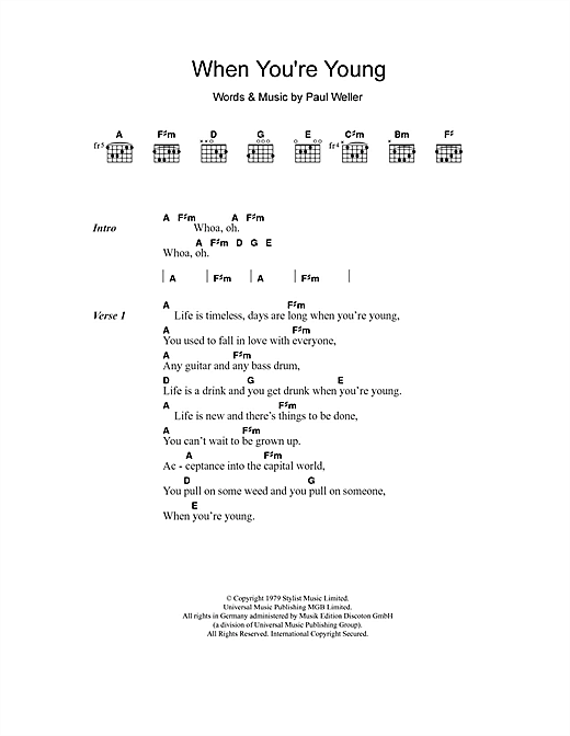 The Jam When You're Young sheet music notes and chords. Download Printable PDF.