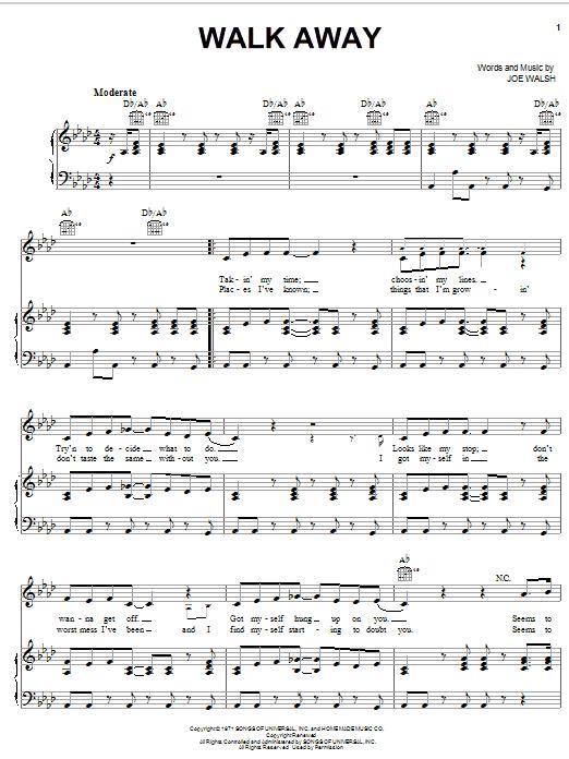 The James Gang Walk Away sheet music notes and chords. Download Printable PDF.