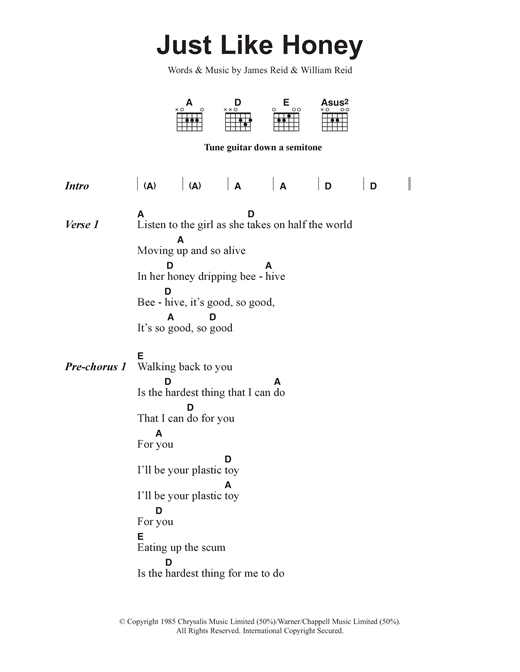 The Jesus And Mary Chain Just Like Honey sheet music notes and chords. Download Printable PDF.