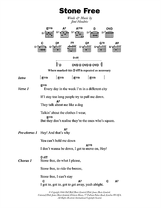 The Jimi Hendrix Experience Stone Free sheet music notes and chords. Download Printable PDF.