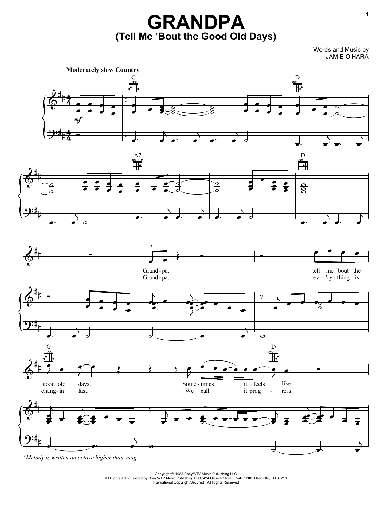 The Judds Grandpa (Tell Me 'Bout The Good Old Days) sheet music notes and chords. Download Printable PDF.