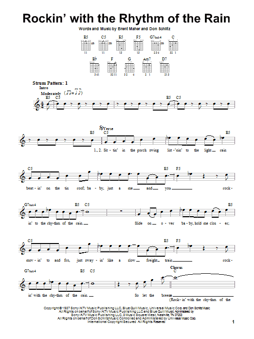 The Judds Rockin' With The Rhythm Of The Rain sheet music notes and chords. Download Printable PDF.