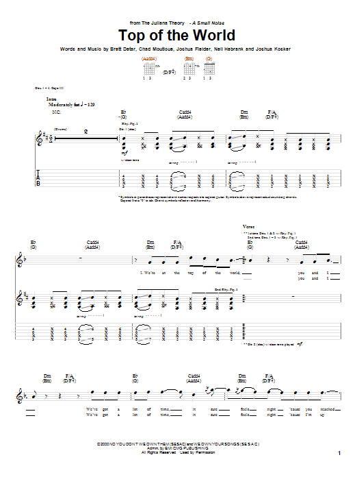 The Juliana Theory Top Of The World sheet music notes and chords. Download Printable PDF.