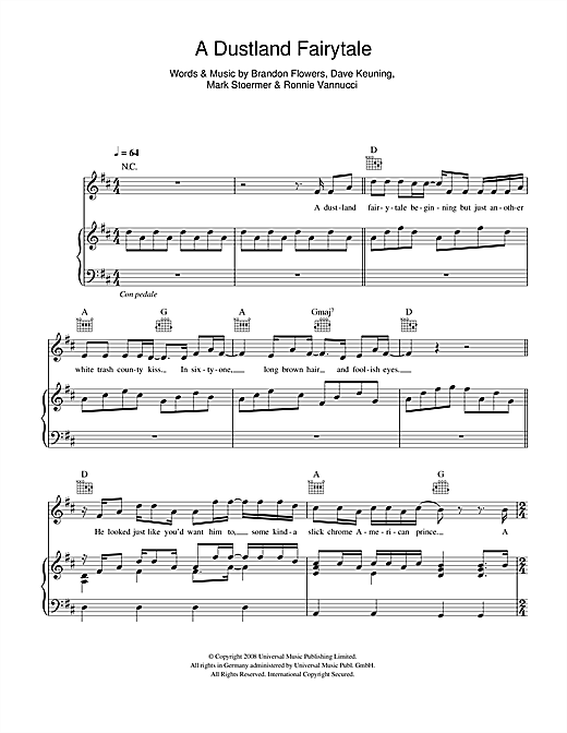 The Killers A Dustland Fairytale sheet music notes and chords. Download Printable PDF.