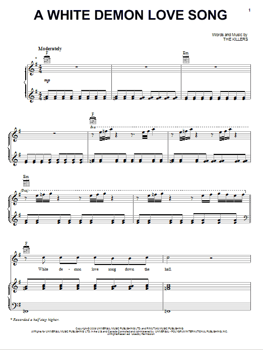 The Killers A White Demon Love Song sheet music notes and chords. Download Printable PDF.