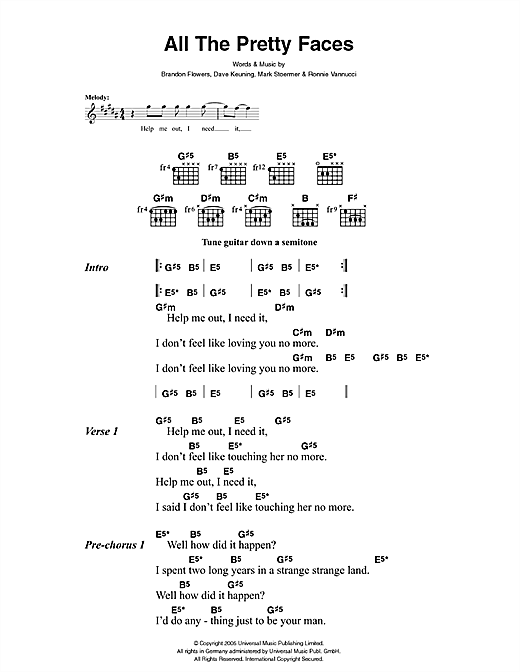 The Killers All The Pretty Faces sheet music notes and chords. Download Printable PDF.