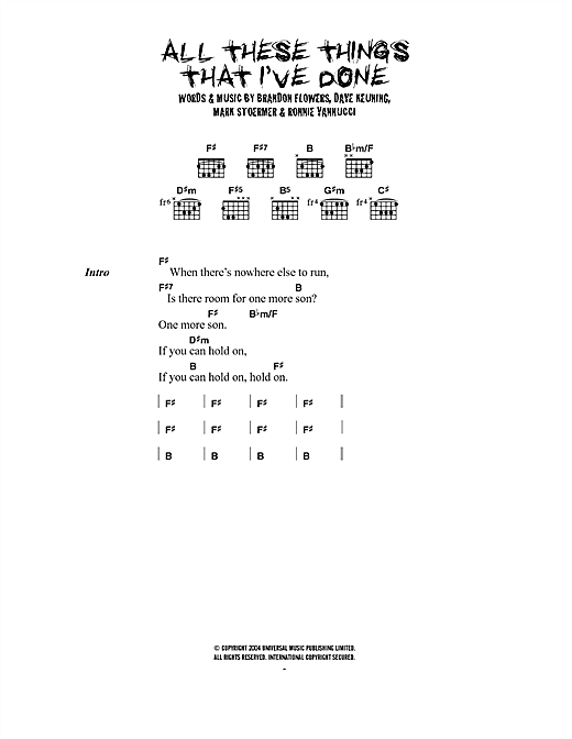 The Killers All These Things That I've Done sheet music notes and chords