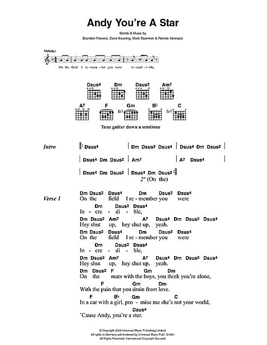 The Killers Andy You're A Star sheet music notes and chords