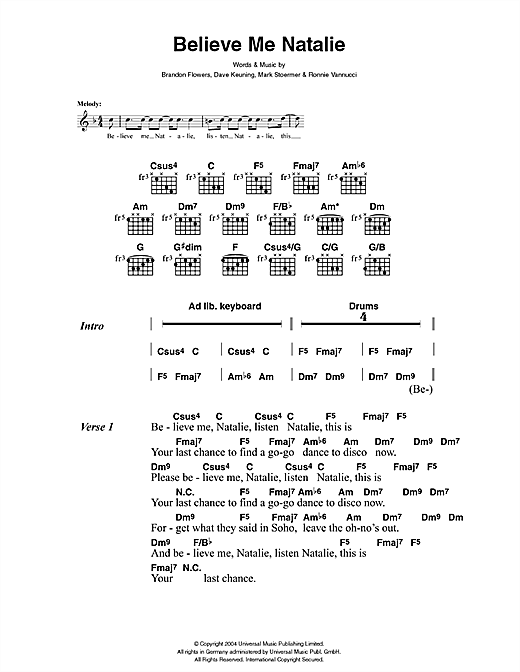 The Killers Believe Me Natalie sheet music notes and chords
