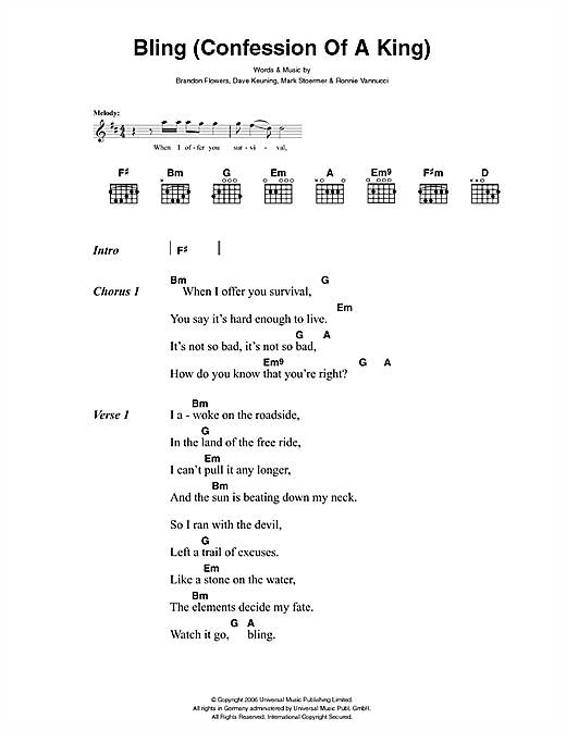 The Killers Bling (Confession Of A King) sheet music notes and chords. Download Printable PDF.