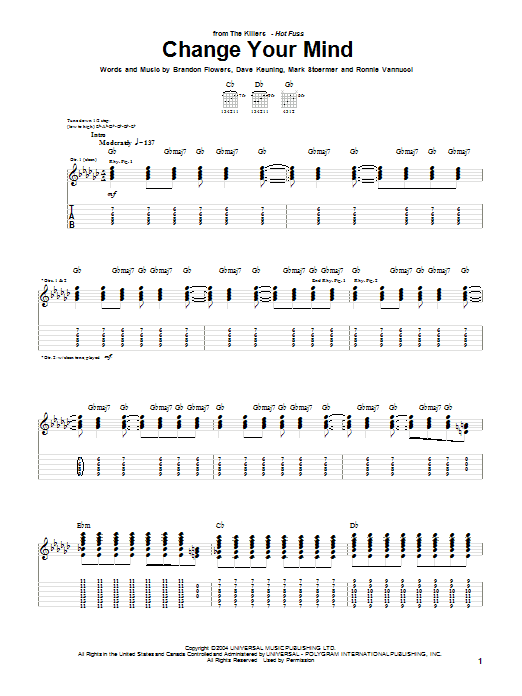 The Killers Change Your Mind sheet music notes and chords. Download Printable PDF.