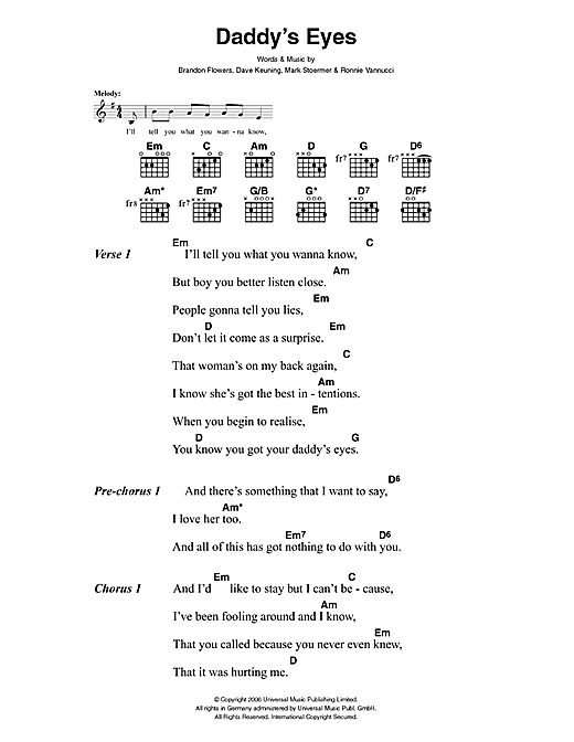 The Killers Daddy's Eyes sheet music notes and chords