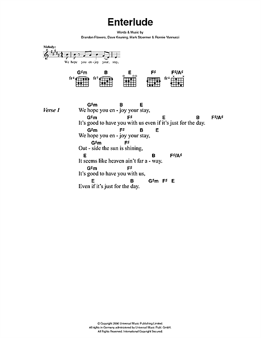 The Killers Enterlude sheet music notes and chords. Download Printable PDF.