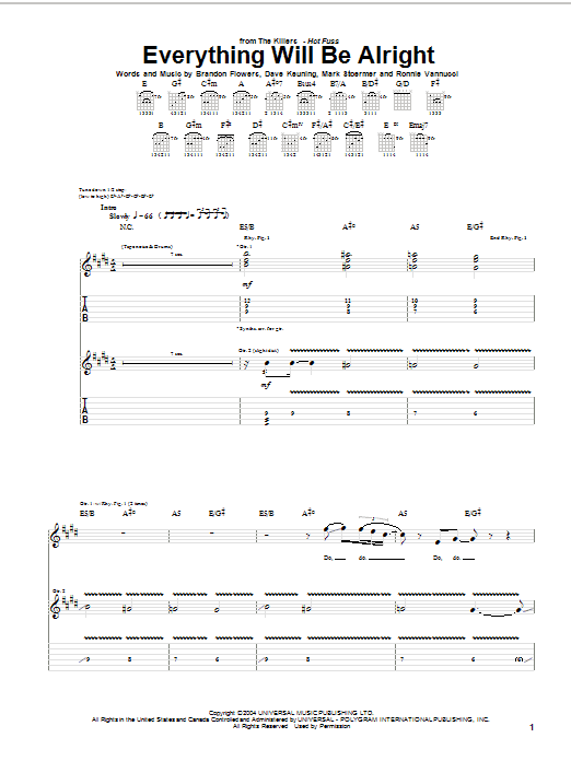 The Killers Everything Will Be Alright sheet music notes and chords. Download Printable PDF.