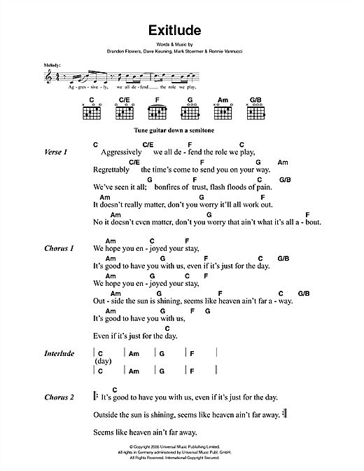 The Killers Exitlude sheet music notes and chords