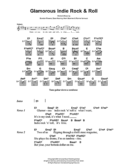 The Killers Glamorous Indie Rock And Roll sheet music notes and chords