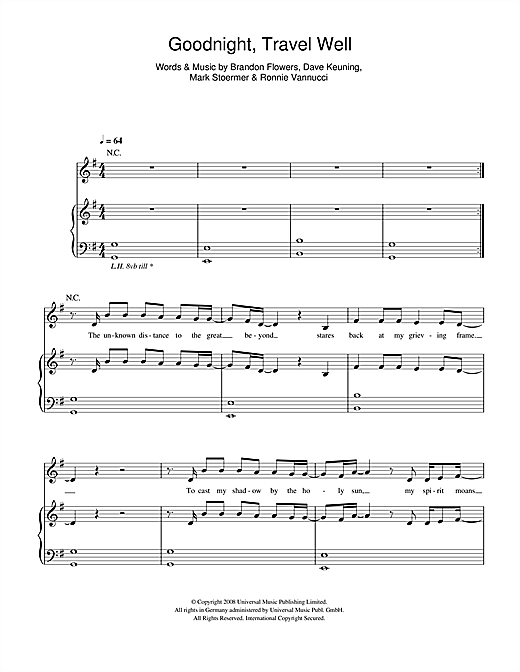 The Killers Goodnight Travel Well sheet music notes and chords. Download Printable PDF.
