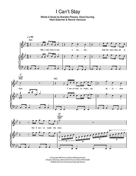 The Killers I Can't Stay sheet music notes and chords. Download Printable PDF.