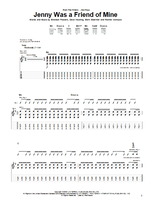 The Killers Jenny Was A Friend Of Mine sheet music notes and chords. Download Printable PDF.