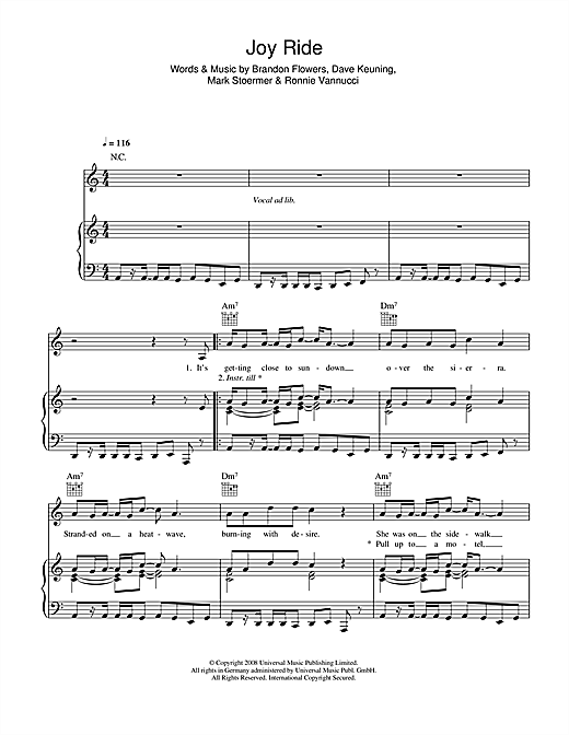 The Killers Joy Ride sheet music notes and chords. Download Printable PDF.