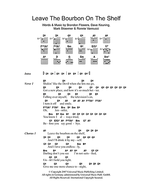 The Killers Leave The Bourbon On The Shelf sheet music notes and chords. Download Printable PDF.