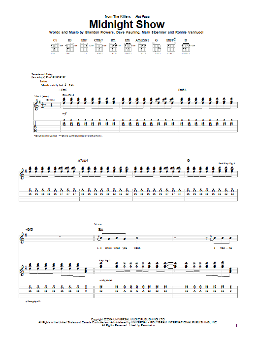 The Killers Midnight Show sheet music notes and chords