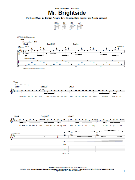 The Killers Mr. Brightside sheet music notes and chords. Download Printable PDF.