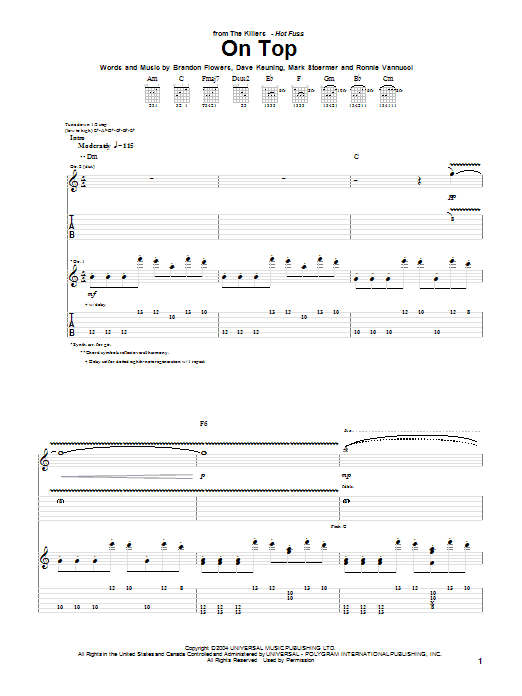 The Killers On Top sheet music notes and chords. Download Printable PDF.