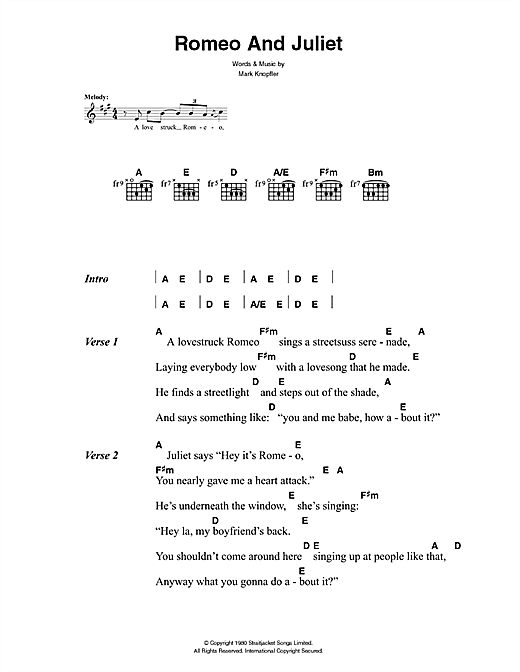 The Killers Romeo And Juliet sheet music notes and chords