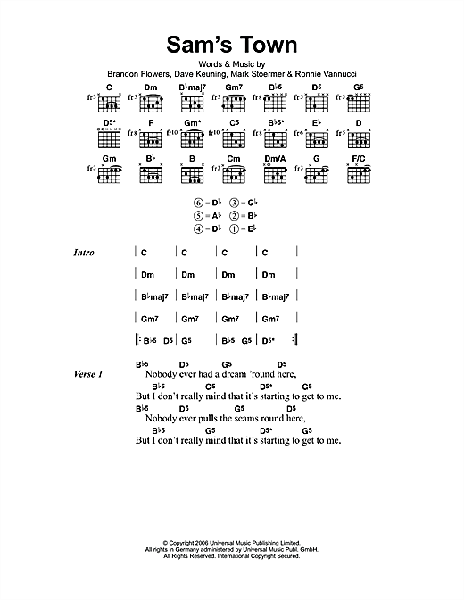 The Killers Sam's Town sheet music notes and chords