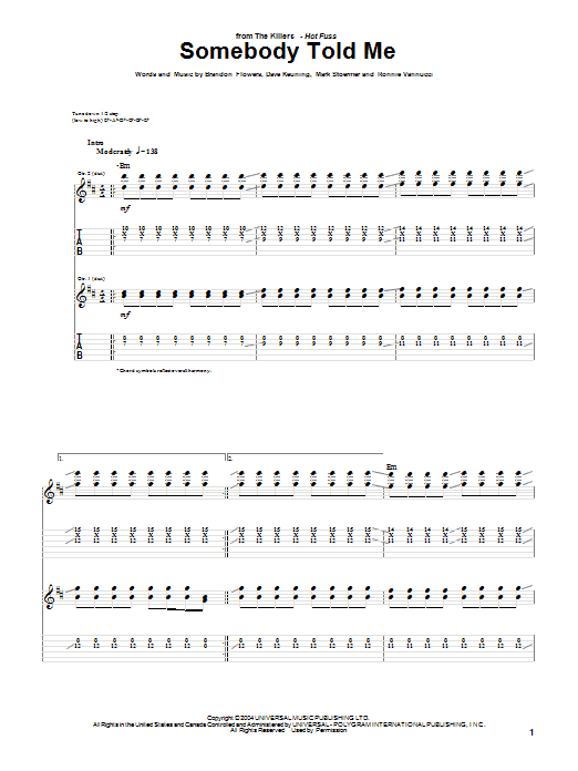 The Killers Somebody Told Me sheet music notes and chords