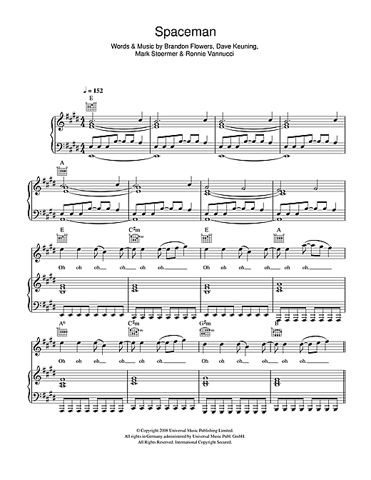 The Killers Spaceman sheet music notes and chords. Download Printable PDF.