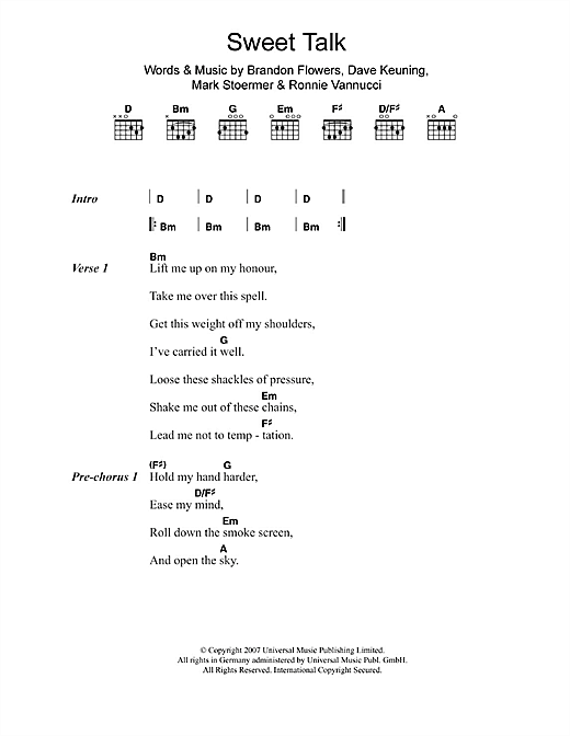 The Killers Sweet Talk sheet music notes and chords. Download Printable PDF.