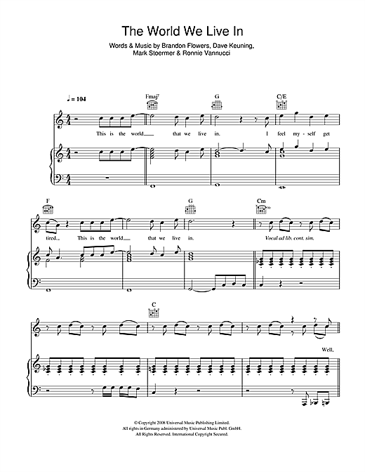 The Killers The World We Live In sheet music notes and chords. Download Printable PDF.